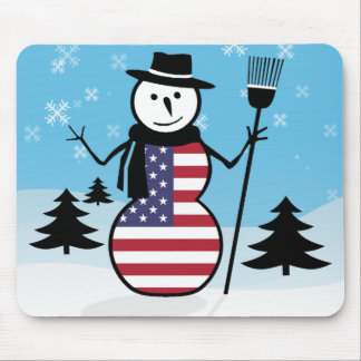 Cartoon Snowman in Field of Snow in US Flag Mousepad