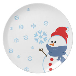 Cartoon Snowman Kitchen Plates