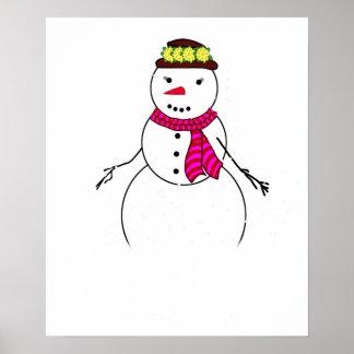 Cartoon Snowman Little Flirty Sweetheart Poster