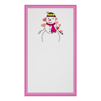 Cartoon Snowman Little Flirty Sweetheart Print