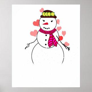 Cartoon Snowman Little Flirty Sweetheart Posters