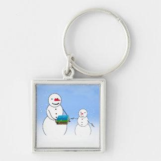 Cartoon Snowmen Going Back to School Keychain