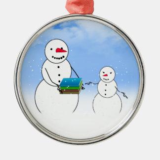 Cartoon Snowmen Going Back to School Christmas Ornaments