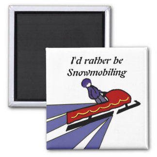 Cartoon Snowmobile with Saying 2 Inch Square Magnet