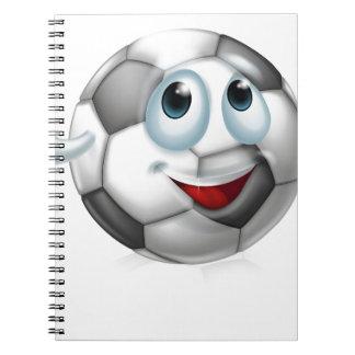 Cartoon soccer ball character spiral note books