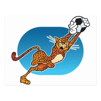 Cartoon Soccer Cheetah Postcard