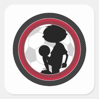 Cartoon Soccer Football Boy Silhouette Square Sticker