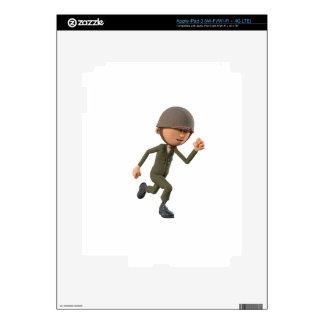 Cartoon Soldier Running iPad 3 Decals