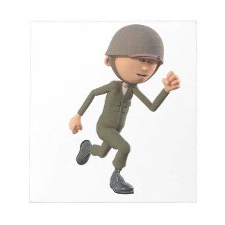 Cartoon Soldier Running Notepad