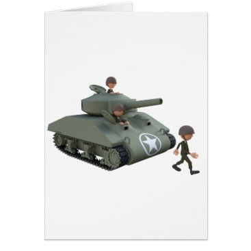 Cartoon Soldiers in a Tank Card