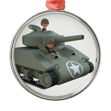 Cartoon Soldiers in a Tank Metal Ornament
