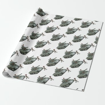 Cartoon Soldiers in a Tank Wrapping Paper