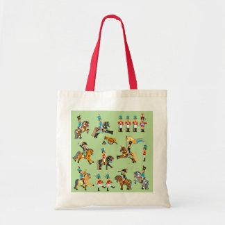 cartoon soldiers tote bag