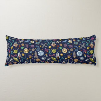 Cartoon Space Explorer Birthday Kids Theme Body Pillow