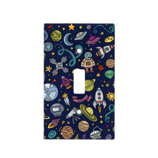 Cartoon Space Explorer Birthday Kids Theme Light Switch Cover