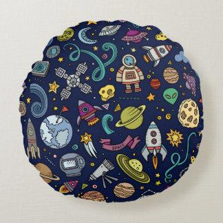 Cartoon Space Explorer Birthday Kids Theme Round Pillow