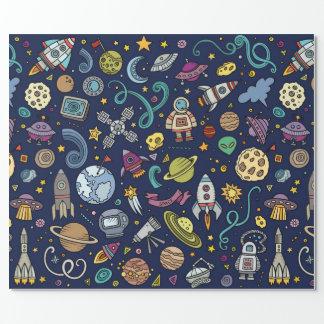Cartoon Space Explorer Birthday Kids Theme Wrapping Paper