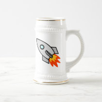 Cartoon Space Rocket Beer Stein