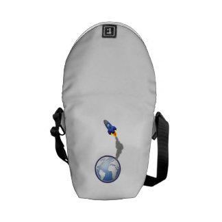 Cartoon Space Rocket Messenger Bag