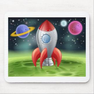 Cartoon Space Rocket on Alien Planet Mousemat