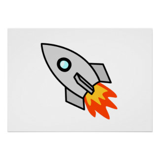 Cartoon Space Rocket Poster