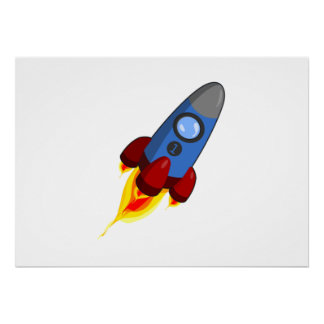 Cartoon Space Rocket Poster
