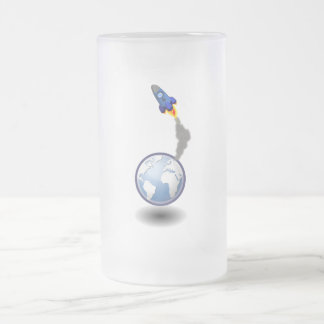 Cartoon Space Ship and Globe Frosted Glass Beer Mug