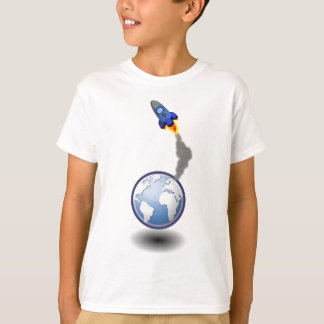 Cartoon Space Ship and Globe T-Shirt