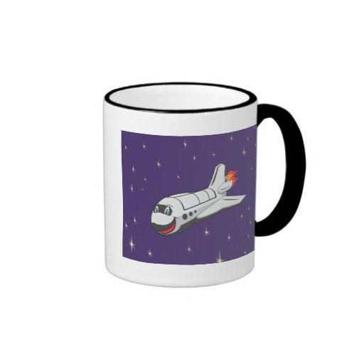 Cartoon Space Shuttle Coffee Mugs