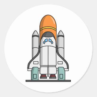 Cartoon Space Shuttle Round Sticker