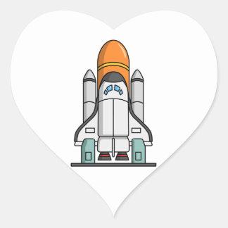 Cartoon Space Shuttle Heart Sticker