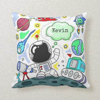 Cartoon Space Theme Throw Pillow