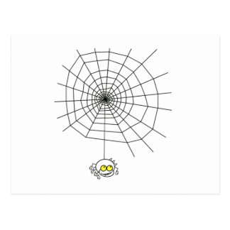 Cartoon Spider Hanging from Web Post Card