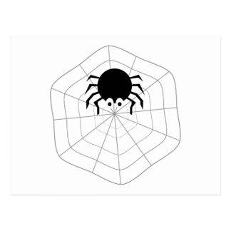 Cartoon Spider In Web Postcard