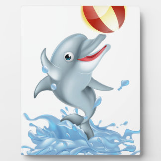 Cartoon Splashing Dolphin Playing with Ball Plaque