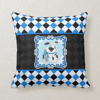 Cartoon Spotted Dog in Blue and Black Checks Throw Pillow