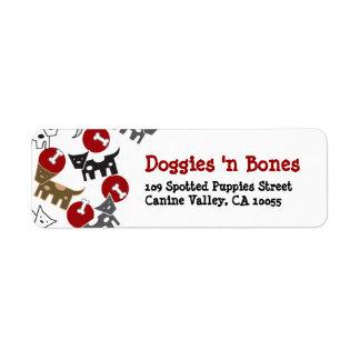 Cartoon Spotted Doggies & Bones Cute Fun Labels