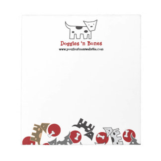 Cartoon Spotted Doggies & Bones Cute Fun Notepad