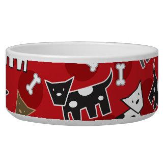 Cartoon Spotted Doggies & Bones Cute Fun Pet Bowl
