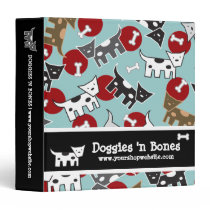 Cartoon Spotted Doggies & Bones Cute Journal Album Binder
