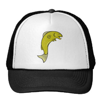 Cartoon Spotted Trout Fish Jumping Mesh Hats