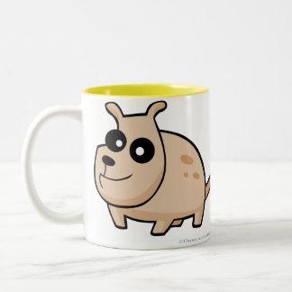 Cartoon spotty dog drinking mug