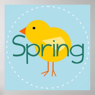 Cartoon Spring Bird Poster