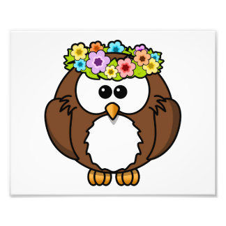 Cartoon Spring Owl with Flowers Photo
