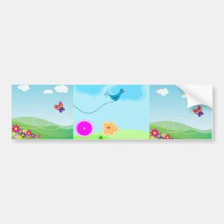 Cartoon Springtime Scene Car Bumper Sticker