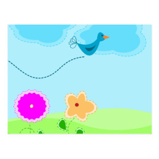 Cartoon Springtime Scene Postcard