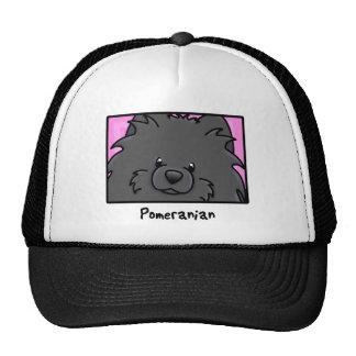 Cartoon Square Black Pomeranian Trucker Hat