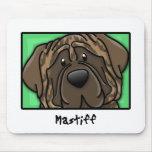 Cartoon Square Brindle Mastiff Mouse Pad
