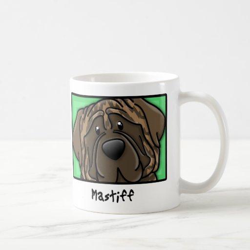 Cartoon Square Brindle Mastiff Coffee Mugs