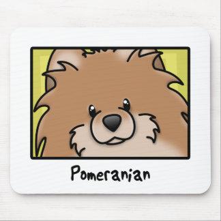Cartoon Square Red Pomeranian Mouse Pad